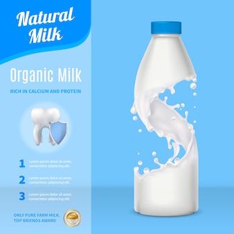Realistyczna kompozycja reklamy mleka