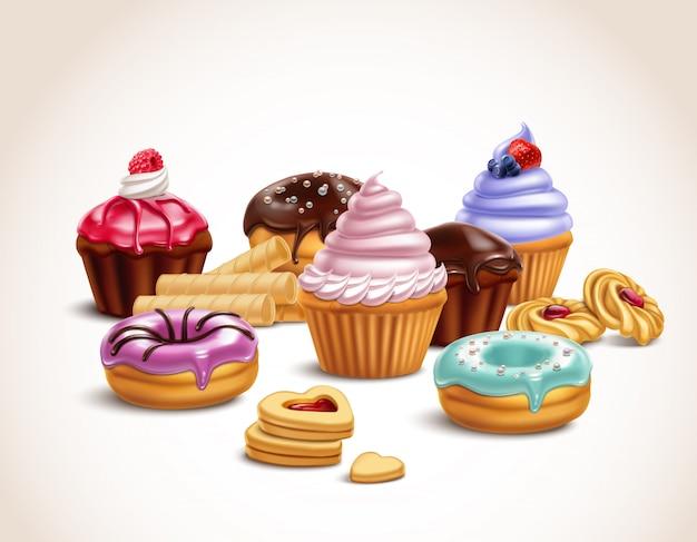Realistyczna kompozycja słodkich smakołyków