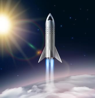 Realistyczna kompozycja startu rakiety z widokiem na stratosferę z gwiazdami słońca i futurystycznym obrazem latającej rakiety