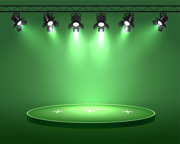 Realistyczna kompozycja świateł punktowych z zestawem sześciu świateł punktowych zawieszonych na rolce nad polem kołowym