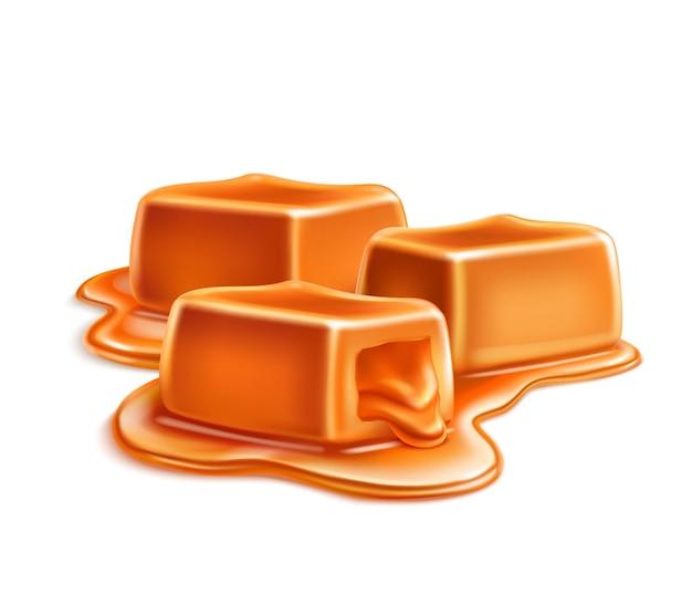 Realistyczna kompozycja świec karmelowych toffi z sześciennymi barami w kałuży płynnej ilustracji karmelowej