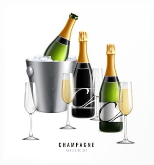 Realistyczna kompozycja szampana z tekstem kieliszków z wiaderkiem z lodem i butelkami szampana premium