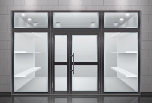 Realistyczna kompozycja szklanych drzwi wejściowych z widokiem na front sklepu z przezroczystymi drzwiami