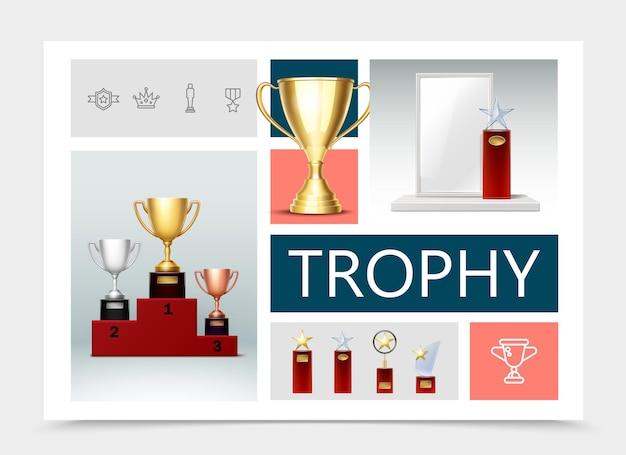 Realistyczna kompozycja trofeów z pucharami na cokołach nagrody z błyszczącymi gwiazdami, medalem, medalikiem, odznaką, ikonami liniowymi