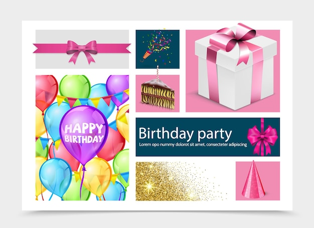 Realistyczna kompozycja urodzinowa z obecnym pudełkiem kawałek ciasta kolorowe balony kapelusz na imprezę krakers łuk złoty konfetti ilustracja