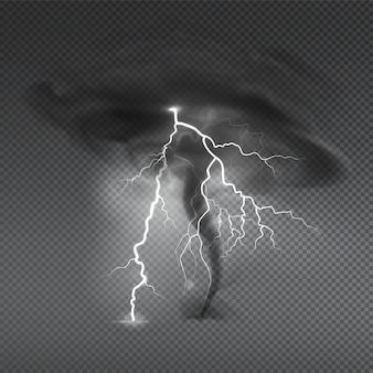 Realistyczna kompozycja w sprayu kurzu wiatrowego z przezroczystą i obrazem chmury huraganu tajfunu z ilustracją pioruna