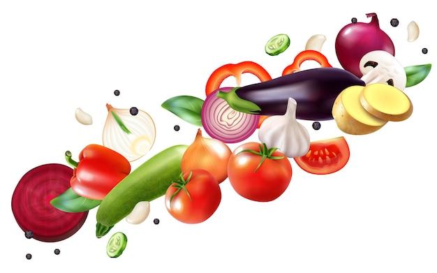 Realistyczna kompozycja warzyw latających z kawałkami dojrzałych i pokrojonych owoców w ruchu