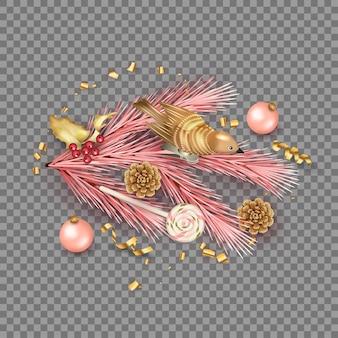 Realistyczna kompozycja wesołych świąt z zabawkowym ptaszkiem i świątecznymi dekoracjami
