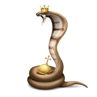 Realistyczna kompozycja węża kobry z wizerunkiem syczącego węża noszącego koronę z kulą na pustym miejscu