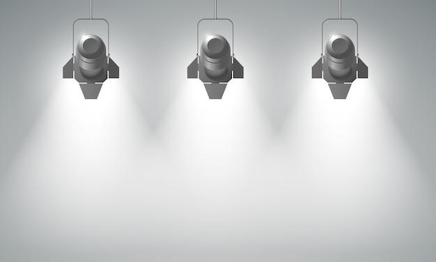 Realistyczna kompozycja wiszących reflektorów z trzema jasnymi wiązkami