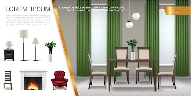 Realistyczna kompozycja wnętrza domu ze stołem krzesła doniczkowe w salonie różne lampy fotel stolik nocny kominek