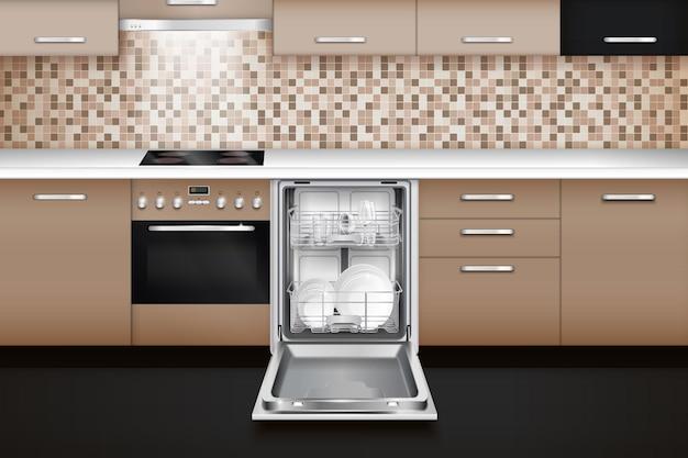 Realistyczna kompozycja wnętrza zmywarki z wewnętrznym widokiem na nowoczesną kuchnię z meblami i zmywarką