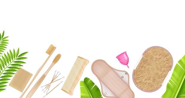 Realistyczna kompozycja z zielonymi liśćmi i ekologicznymi produktami zero waste