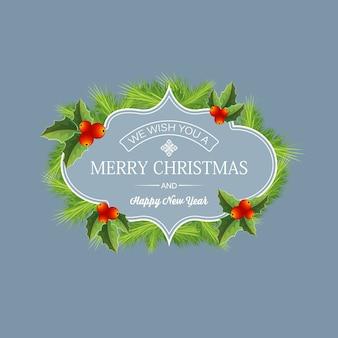 Realistyczna koncepcja dekoracyjnych ferii zimowych z tekstem i wieniec gałązek jodły holly jagody ilustracja