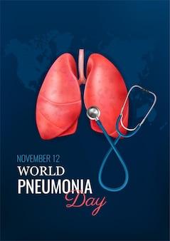 Realistyczna koncepcja dnia zapalenia płuc z ilustracją zdrowych płuc