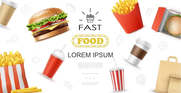 Realistyczna koncepcja elementów fast food z frytkami burger filiżanki do kawy soda i ilustracja papierowa torba
