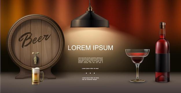 Realistyczna koncepcja elementów pubu z drewnianą beczką piwa koktajl butelka lampy napoju alkoholowego na niewyraźne tło