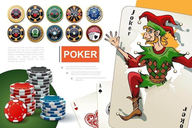 Realistyczna koncepcja kasyna i hazardu z kolorowymi żetonami pokerowymi, asami i kartami jokera