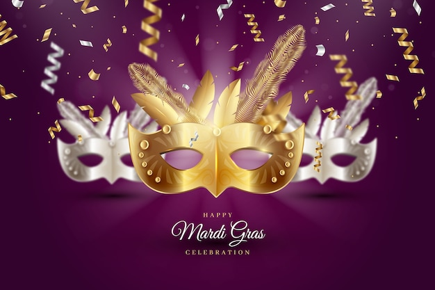 Realistyczna koncepcja maski mardi gras