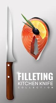 Realistyczna koncepcja nóż kuchenny filetowanie