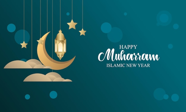 Realistyczna koncepcja plakatu islamskiego nowego roku