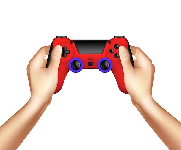 Realistyczna koncepcja projektowania gier wideo z bezprzewodowym kontrolerem gamepada w ludzkich rękach na białym tle