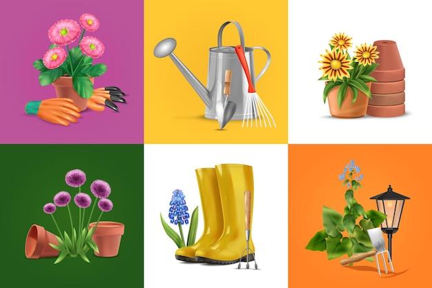 Realistyczna koncepcja projektowania ogrodu z ilustracjami kwiatów i butów