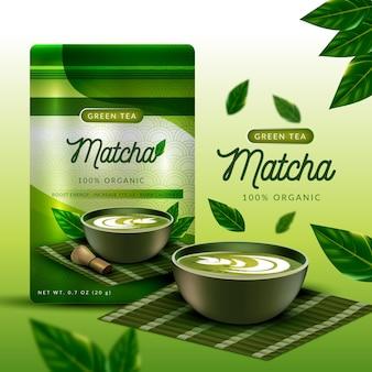 Realistyczna koncepcja reklamy herbaty matcha