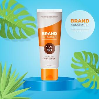 Realistyczna koncepcja reklamy z filtrem przeciwsłonecznym