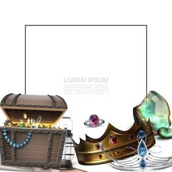 Realistyczna koncepcja skarbów piratów z ramką na tekst korona diadem pierścień latarnia skrzynia pełna złotych monet i klejnotów
