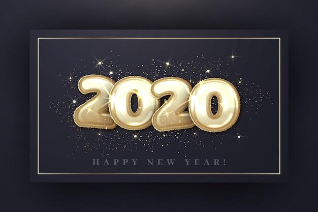 Realistyczna koncepcja tapety balony nowy rok 2020