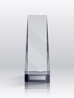 Realistyczna koncepcja trofeum z symbolami zwycięzcy konkursu i zwycięstwa