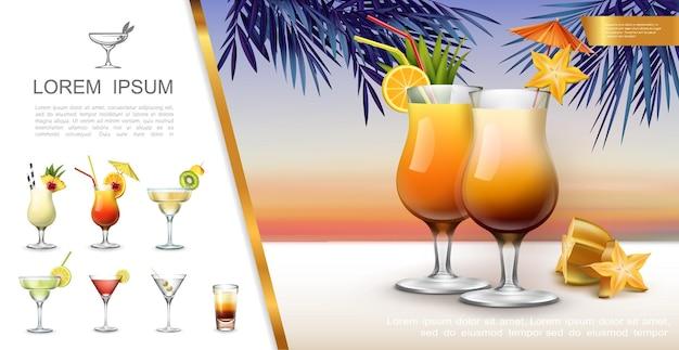 Realistyczna koncepcja tropikalnej imprezy z koktajlami mojito pina colada tequila sunrise margarita martini i ilustracją shot drink