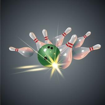 Realistyczna koncepcja uderzenia w kręgle na ciemnoszarym tle. strajk w kręgle piłką
