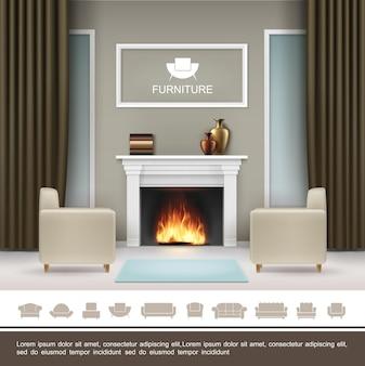 Realistyczna koncepcja wnętrza salonu z ramą kominka wazonów na zasłony i dywan między miękkimi fotelami