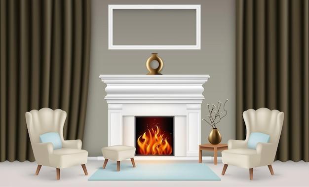Realistyczna koncepcja wnętrza salonu z wazonami, kominkiem, ramą na zdjęcie, zasłonami i dywanem