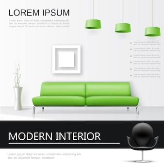 Realistyczna koncepcja wnętrza salonu z zieloną sofą i lampami w wazonie i dekoracyjną ramką na zdjęcia na ścianie,