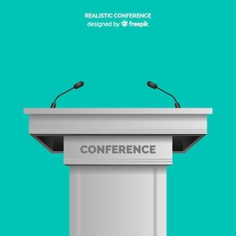 Realistyczna konferencja na pulpicie z mikrofonem