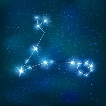Realistyczna konstelacja zodiakalna ryb z niebieską błyszczącą wielokątną strukturą na gromadzie gwiazd