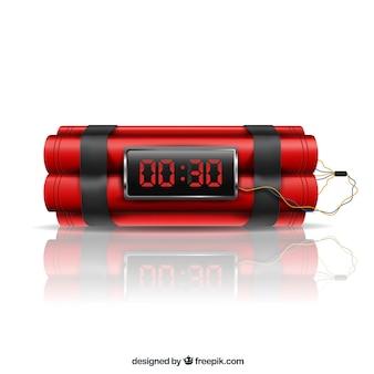 Realistyczna konstrukcja czerwonej bomby zegarowej