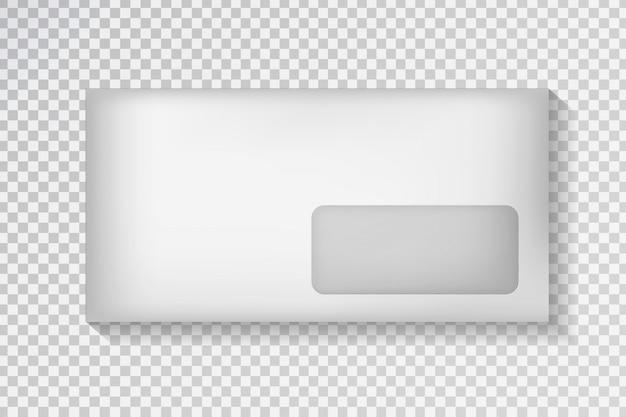 Realistyczna koperta na przezroczystym tle. biały szablon pakietu do dekoracji i identyfikacji wizualnej.