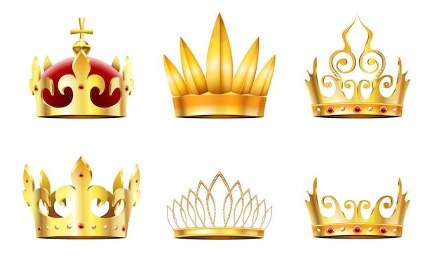 Realistyczna korona i tiara. złote korony królewskie, złoty diadem królowych i zestaw koron monarchów.