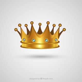 Realistyczna korona złota z kamieniami szlachetnymi