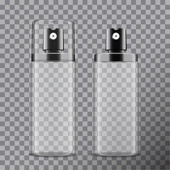 Realistyczna kosmetyczna butelka z rozpylaczem. dozownik do kremów, balsamów i innych kosmetyków. z pokrywką i bez. szablon twojego na przezroczystym tle