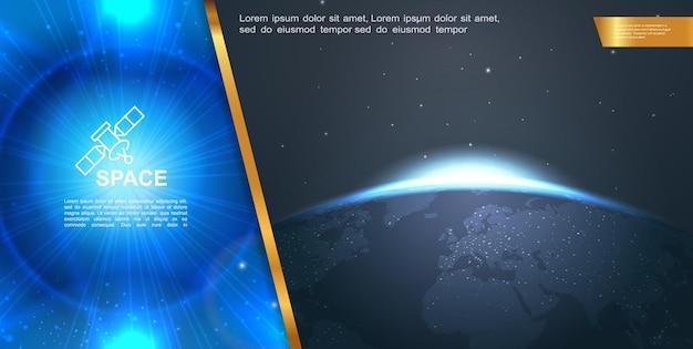 Realistyczna kosmiczna kompozycja kolorowa z pięknymi niebieskimi promieniami i świecącymi efektami oraz wschodzącym słońcem za planetą ziemi