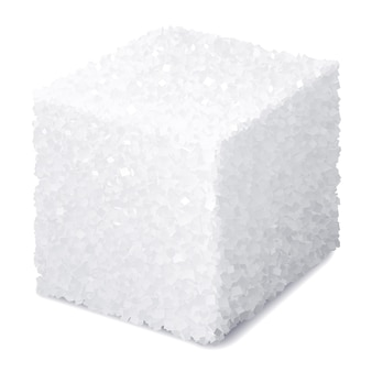 Realistyczna kostka cukru na białym tle