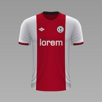Realistyczna koszulka piłkarska ajax, szablon koszulki na strój piłkarski