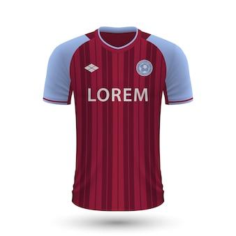 Realistyczna koszulka piłkarska aston villa 2022, szablon koszulki dla foo