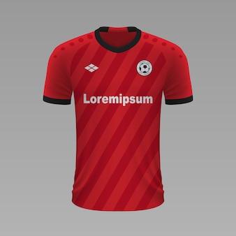 Realistyczna koszulka piłkarska bayer leverkusen, szablon koszulki na strój piłkarski