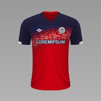 Realistyczna koszulka piłkarska lille, szablon jersey na strój piłkarski.